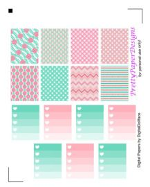 FREE Pink & Mint Kit Planner Stickers by Prettypaper Designs