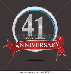 41 years silver anniversary logo with blue silver ring and red ribbon. anniversary logo for birthday, celebration, wedding and party