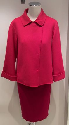 Get that Hepburn classic, chic 60's look in MaxMara Weekend pink jacket and skirt in Virgin wool. Prices on request.