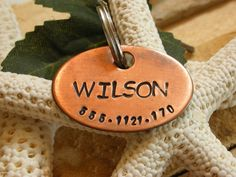 Copper Handstamped Pet ID Tag - The Wilson. $13.99, via Etsy.