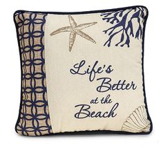 Beach Ocean Accent Pillow with Message