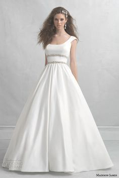 Cap Sleeve Satin Ball Gown with Crystal Braid Detail at the Waist - Madison James Collection 2014 Wedding Dresses