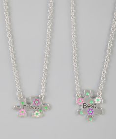 Take a look at this Sterling Silver Best Friends Puzzle Necklace Set by Kardee Kids on #zulily today!