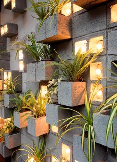 A Concrete Block Planter Wall Was Used To Add Greenery To This Restaurant - Accent Wall Concrete Block Walls, Concrete Wall, Concrete Planters, Wall Planters, Succulent Planters, Succulents Garden, Concrete Block Retaining Wall, Decorative Concrete Blocks, Garden Wall Planter