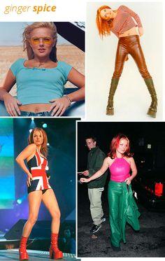 ginger spice - estilo - looks - anos 90 - spice girls Ginger Spice Costume, Baby Spice Costume, Sporty Spice Costume, Halloween Costumes For Girls, Halloween Fancy Dress, Girl Costumes, Geri Halliwell, Emma Bunton, Baby Spice Outfits