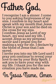prayer to accept jesus as lord. Prayer Verses, Faith Prayer, God Prayer, Prayer Quotes, Bible Verses, Bible Prayers, Prayer Room, Biblical Quotes, Religious Quotes