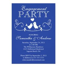 "Modern Love Birds Engagement Party Invitations 4.5"" X 6.25"" Invitation Card"