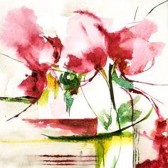 Petit instant N° 263 - Peinture, 15x15 cm ©2014 par Véronique Piaser-Moyen - Peinture contemporaine, Papier, Fleur, aquarelle, watercolor, piaser, piaser-moyen, fleurs, fleur, flower, flowers