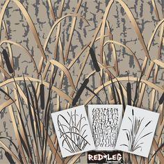 "Redleg Camo 3 Piece Grass Wetland camouflage Stencil kit 12""x9"" airbrush duck #RedlegCamo"