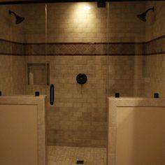 walk-in shower half wall - Google Search