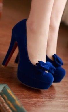 Cute blue Bow Knot Design High Heel Fashion Shoes