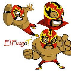 cartoon flying elbow drop | El Fuego Luchador by happyfestivus on deviantART
