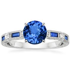 Platinum Sapphire Vintage Sapphire and Diamond Ring from Brilliant Earth