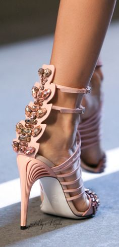 Fendi 2015 ~ Sandal Heels with Ankle Straps, Pink