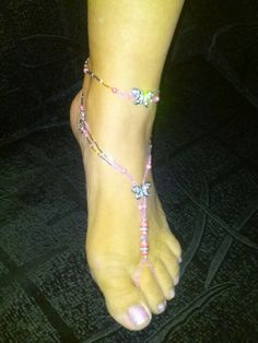 Pink butterfly barefoot sandals, and matching anklets $30 www.sand-allz.com Pink Butterfly, Bare Foot Sandals, Ankle Bracelets, Sexy Feet, Anklets, Barefoot, Fairy Houses, Fairy Gardens, Heels