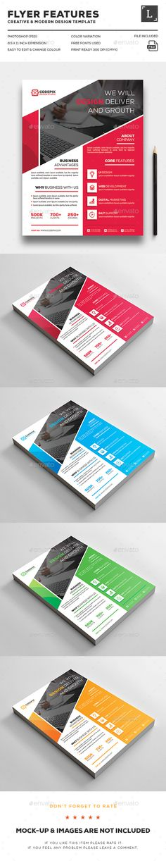 Corporate Flyer — Photoshop PSD #landscape #flyer • Available here → https://graphicriver.net/item/corporate-flyer/16496991?ref=pxcr