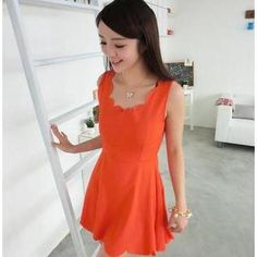 Sleeveless Scalloped Neckline Dress from #YesStyle <3 59 Seconds YesStyle.com