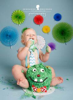 Jeneanne Ericsson Photography cake smash. Monster theme giant cupcake