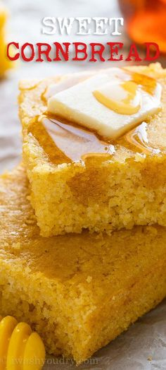 This is the BEST Sweet Cornbread Recipe with a sweet and cake-like texture. Perfect for serving with savory soups and chili. Top with butter and honey for a special treat!