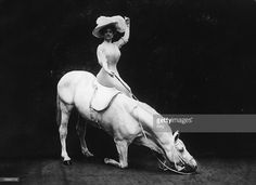 German stunt rider Therese Renz (1859-1938), of the Renz circus family of Berlin, riding sidesaddle on one of her performing horses, circa 1895. (Photo by FPG/Hulton Archive/Getty Images)