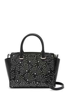 905505b426687b Michael Kors Selma Medium Satchel Leather Black Silver Firework Retail for  sale online   eBay