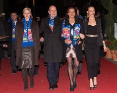(L to R) Princess Charlene, her husband Prince Albert II, Princess  Stephanie and her daughter Pauline Ducruet attend the opening of the Monte-Carlo 37th International Circus Festival on 17 Jan 2013 in Monte-Carlo,