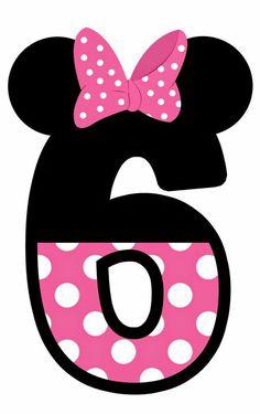 Numero 6 cumpleaños  Minnie mouse moño  Rosita, blanco y negro