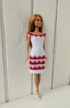 Crochet Patterns Dress Barbie clothes Barbie Crochet Dress for Barbie Doll Crochet Barbie Patterns, Barbie Clothes Patterns, Crochet Barbie Clothes, Crochet Dolls, Dress Patterns, Dress Barbie, Barbie Doll, Habit Barbie, Black Crochet Dress
