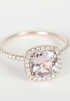 Rose gold and a soft pink diamond.