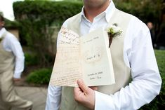 DIY wedding programs from burlap and vintage paper- great ideas on what to put in the inside