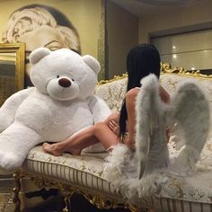 I want those wings and the teddy bear lmaoo Sugar Baby, Rich Girls, Cute Bear, Big Teddy Bear, Giant Teddy, Thing 1, Sexy Girl, My Daddy, Girly Things
