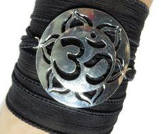 Om Silk Wrap Bracelet Lotus Yoga Jewelry Black Bohemian Wrap Bracelet Zen Silk Ribbon Wrap Wrist Band Ohm Jewelry Christmas Stocking Stuffer