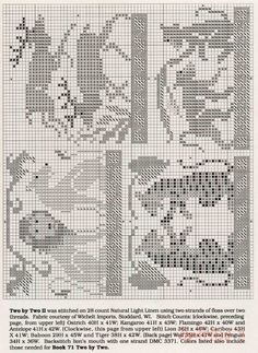 book 72 - Two by two II 2 Cross Stitch Christmas Ornaments, Christmas Cross, Cross Stitch Charts, Cross Stitch Patterns, Blackwork, Halloween Cross Stitches, Cross Stitch Animals, Tapestry Crochet, Crochet Chart