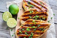 If you're looking for a fantastic summer recipe, then Grilled Chicken Breasts With Lime Sauce is it. Super simple grilled chicken with a gorgeous lime sauce that will absolutely blow your socks off. Lime Chicken Recipes, Mango Chicken, Spicy Recipes, Air Fryer Healthy, High Protein Recipes, Grilled Chicken, Boneless Chicken, Grilling Recipes, Carne