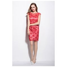 Red Sheer Illusion Neckline Floral Embroidered Lace Overlay Cap Sleeves Dress