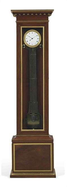 AN EMPIRE ORMOLU-MOUNTED MAHOGANY REGULATEUR DE PARQUET BY LOUIS BERTHOUD, HORLOGER DE LA MARINE, CIRCA 1807 French Furniture, Antique Furniture, Grandmother Clock, Pendulum Clock, Unique Clocks, Luxury Office, Old Watches, Empire Style, Wood Projects