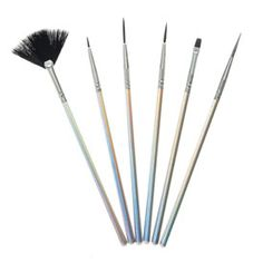 6 Pack Silver Nail Art Brushes - 4.99 euros