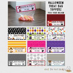 Printable Halloween Treat Bag Toppers Witch by whatthehootdesigns
