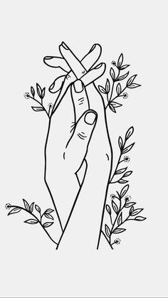 Holding hands line art printable wall art - Art Sketches Art Drawings Sketches, Easy Drawings, Easy Flower Drawings, Easy To Draw Flowers, Simple Line Drawings, Cool Tattoo Drawings, Rose Drawing Simple, Simple Sketches, Hand Lines