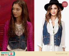 Riley's denim vest on Girl Meets World.  Outfit Details: http://wornontv.net/34230/ #GirlMeetsWorld