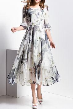 Ink Print Round Neck Midi Dress