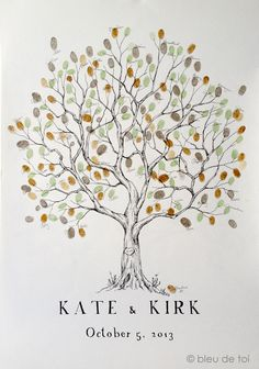 Fingerprint Tree Wedding Guest Book Alternative, Original Hand-drawn Large Olive…