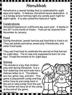 Hanukkah Informational Text: Main Idea, Comprehension Questions, Facts - My CMS Reading Comprehension Activities, Comprehension Questions, Reading Passages, How To Celebrate Hanukkah, Happy Hanukkah, Hanukkah Blessings, Hanukkah Traditions, Mom So Hard, Nonfiction Text Features