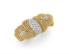 A DIAMOND AND GOLD BRACELET WATCH, BY DAVID WEBB  Designed as a sculpted 18k gold woven band, the top set with three circular-cut diamond sc...