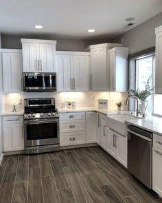 The kitchen that is top-notch white kitchen , modern kitchen , kitchen design ideas! Kitchen Redo, Home Decor Kitchen, New Kitchen, Awesome Kitchen, Kitchen Ideas, Kitchen Colors, Cheap Kitchen, Kitchen Modern, Kitchen Redesign Ideas