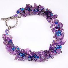 Amethyst and seed bead bracelet