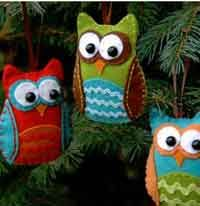 Make a felt owl ornament! (I think if I do any Christmas crafts, need to start soon! Kids Crafts, Owl Crafts, Craft Projects, Craft Ideas, Felt Projects, Craft Tutorials, Easter Crafts, Sewing Projects, Tree Crafts