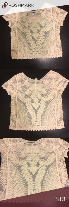 Express cream see-through top - XS Express cream see-through top in an XS. Worn only twice so in great condition. Bundle with 2 or more items for 15% off! Express Tops