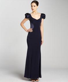 A.B.S. by Allen Schwartz midnight v-neck rose shoulder gown   BLUEFLY up to 70% off designer brands