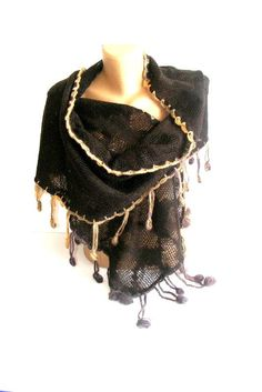 SALE chocolate brown shawl scarf neckwarmertricot by seno on Etsy, $60.00